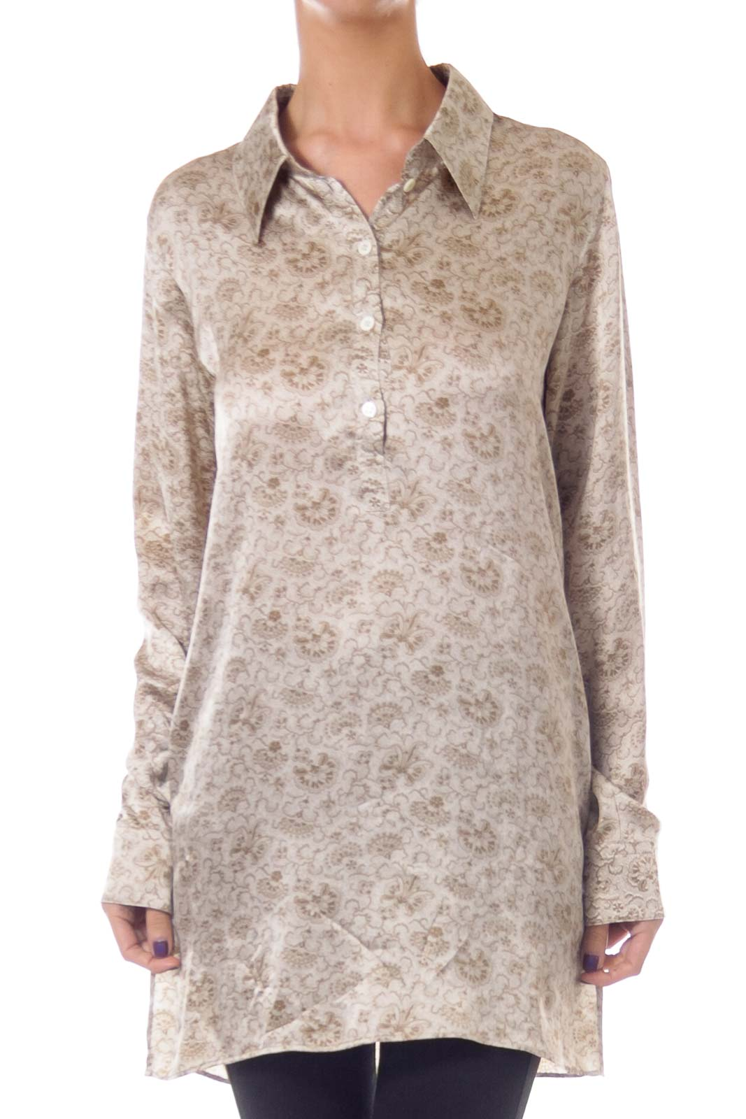 Army Green Flower Print Silk Blouse Front