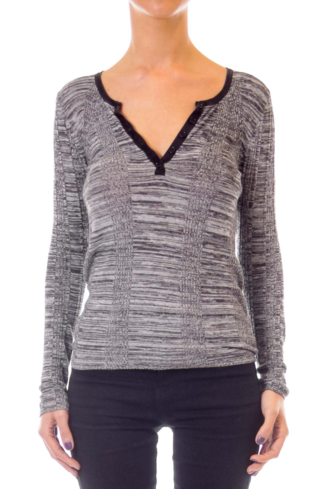 Gray Woven Sweater Front
