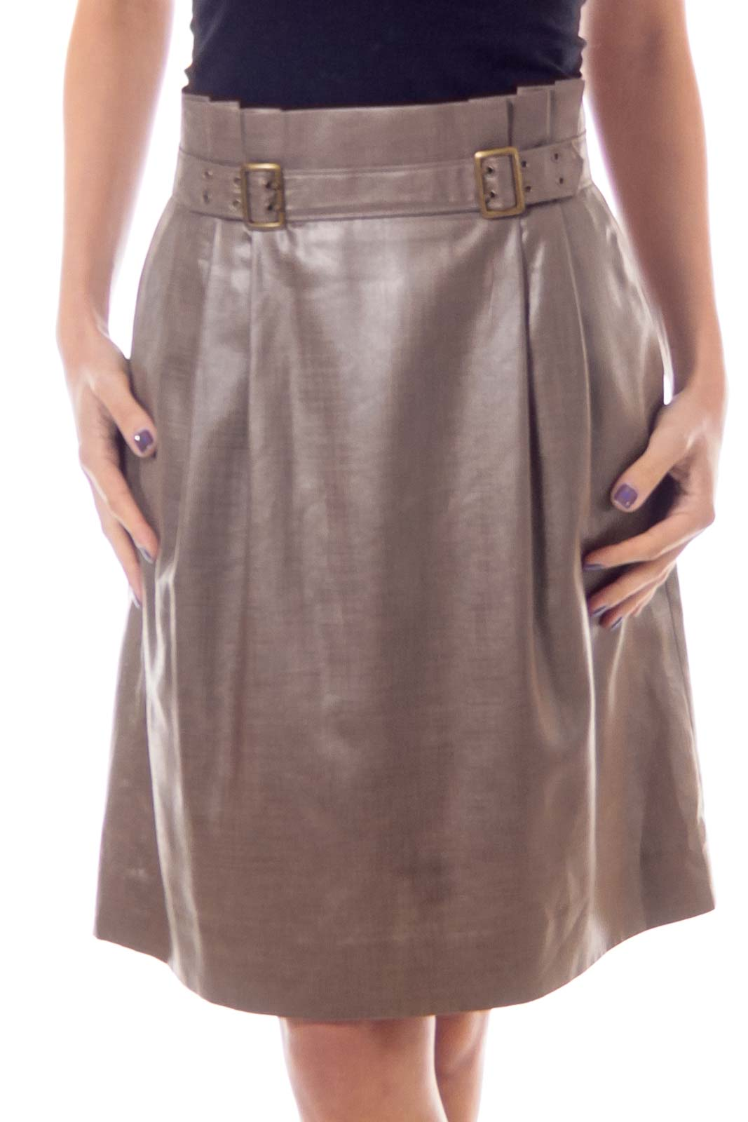 Taupe Shiny High Waist Buckled Skirt Front