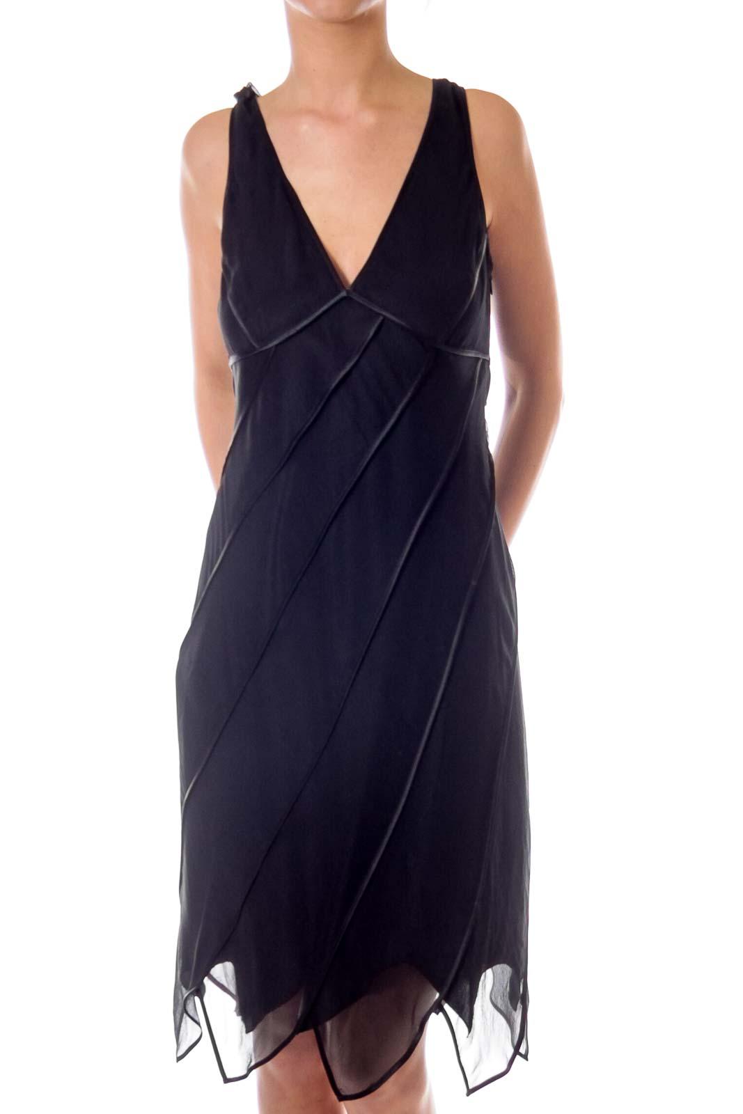 Black V-neck Cocktail Dress Front