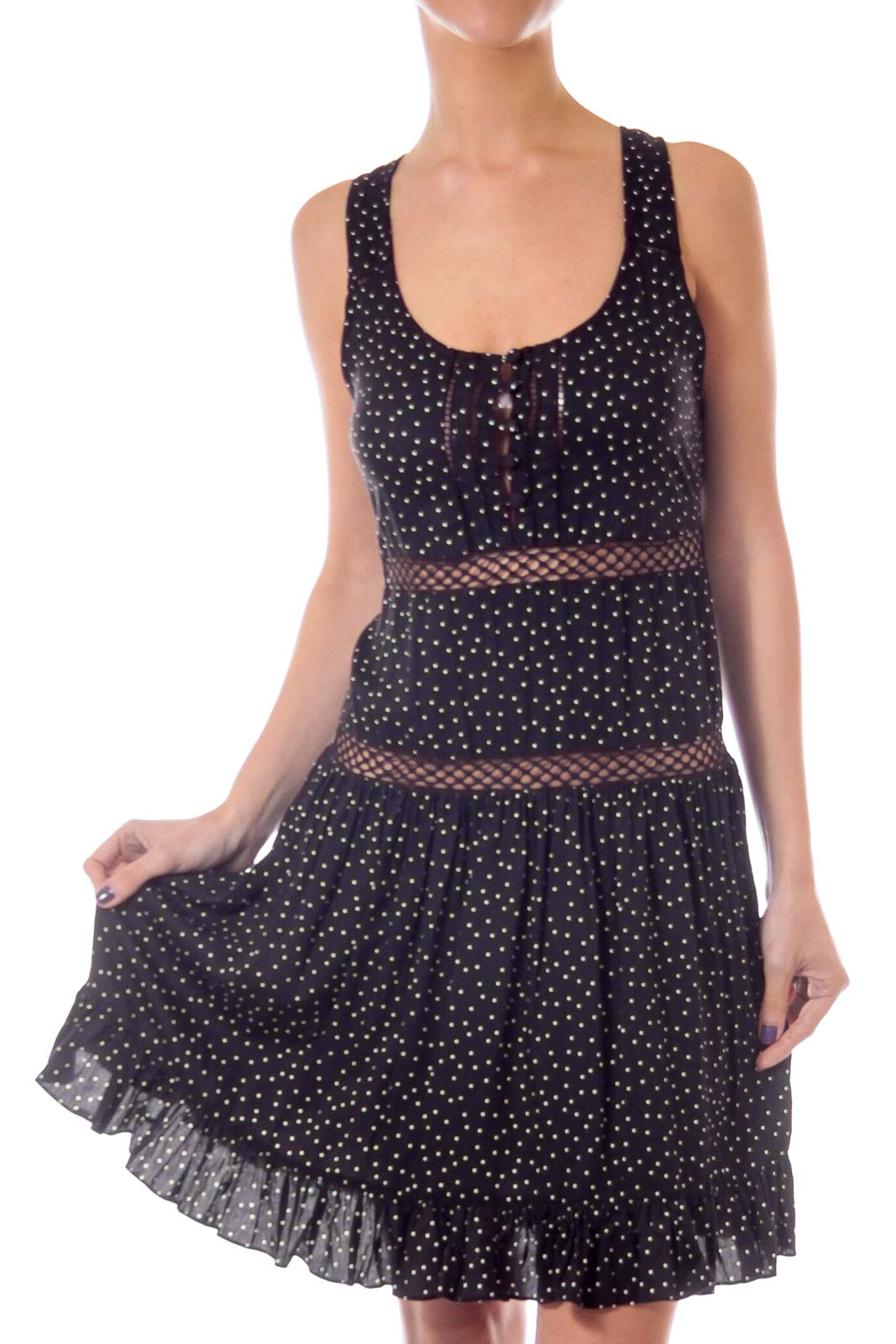 Black Polka Dot A-line Dress Front