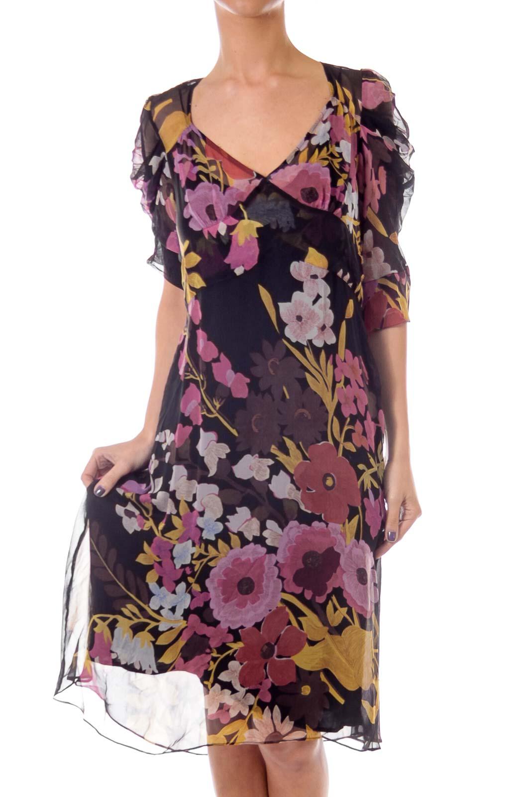 Black Flower Print See Through Dress Front