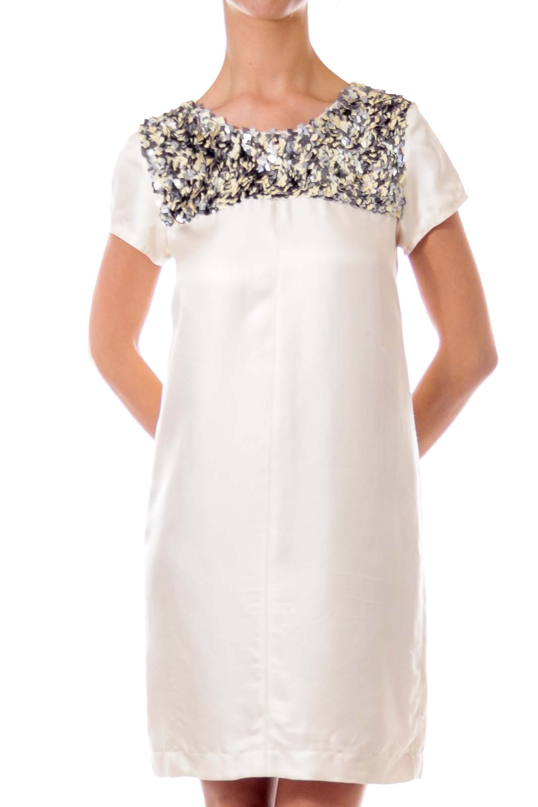 Cream Sequin Detailed Shift Dress Front