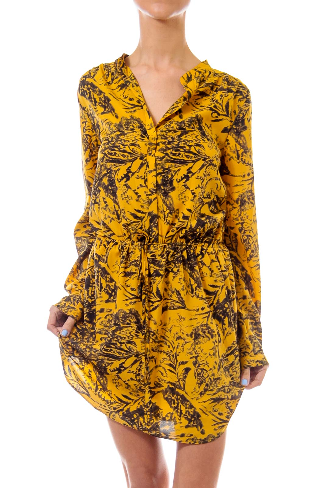 Mustard & Black Scrunch Waist Dress Front
