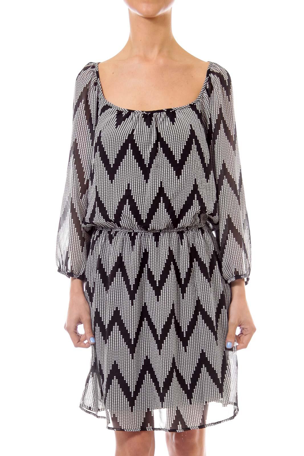 Black & White Zig Zag Print Dress Front