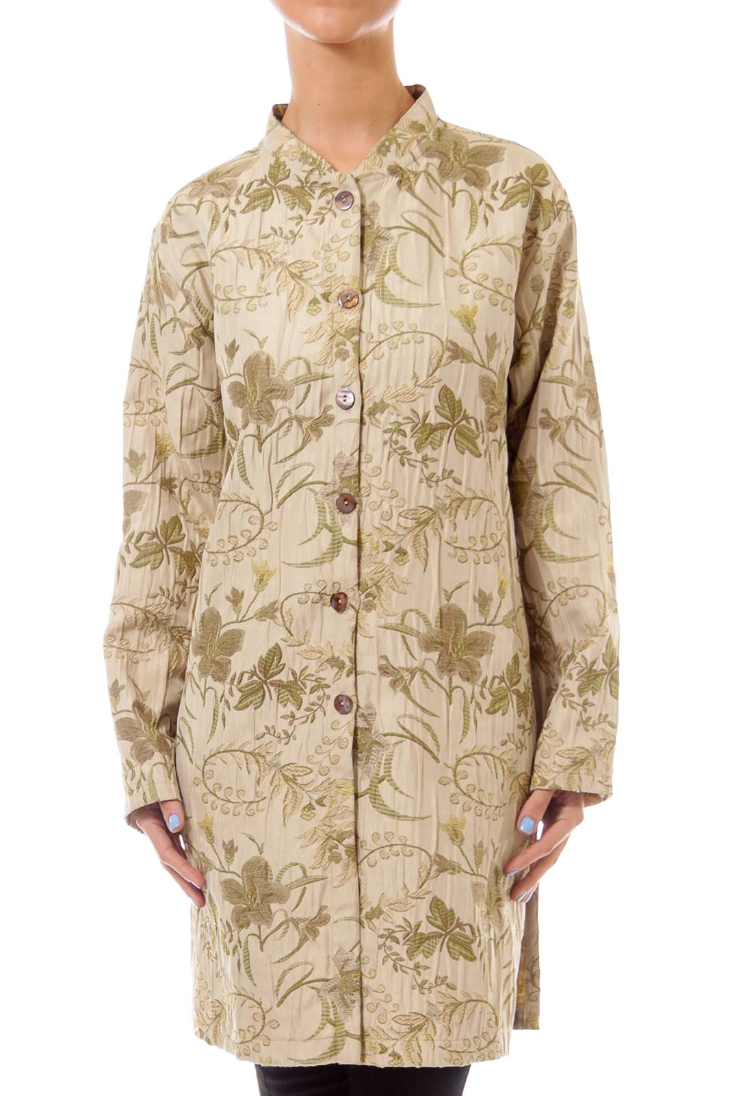 Beige Flower Embroidery Button Down Coat Front