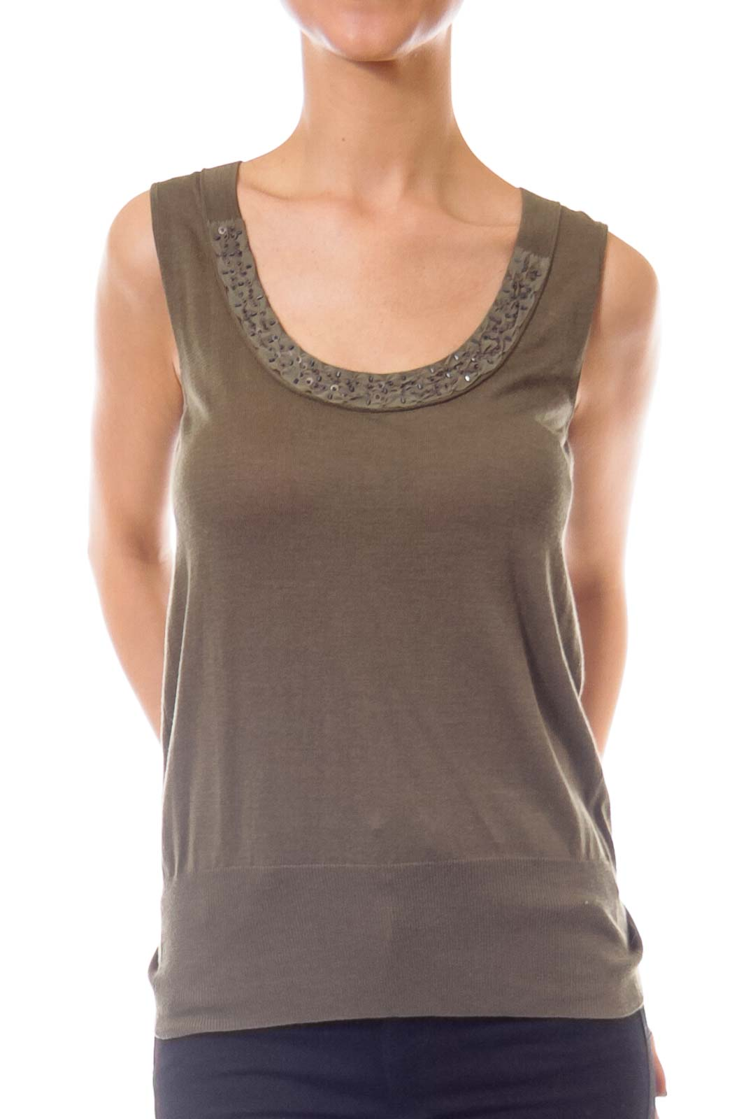 Army Green Silk Tank Top Front