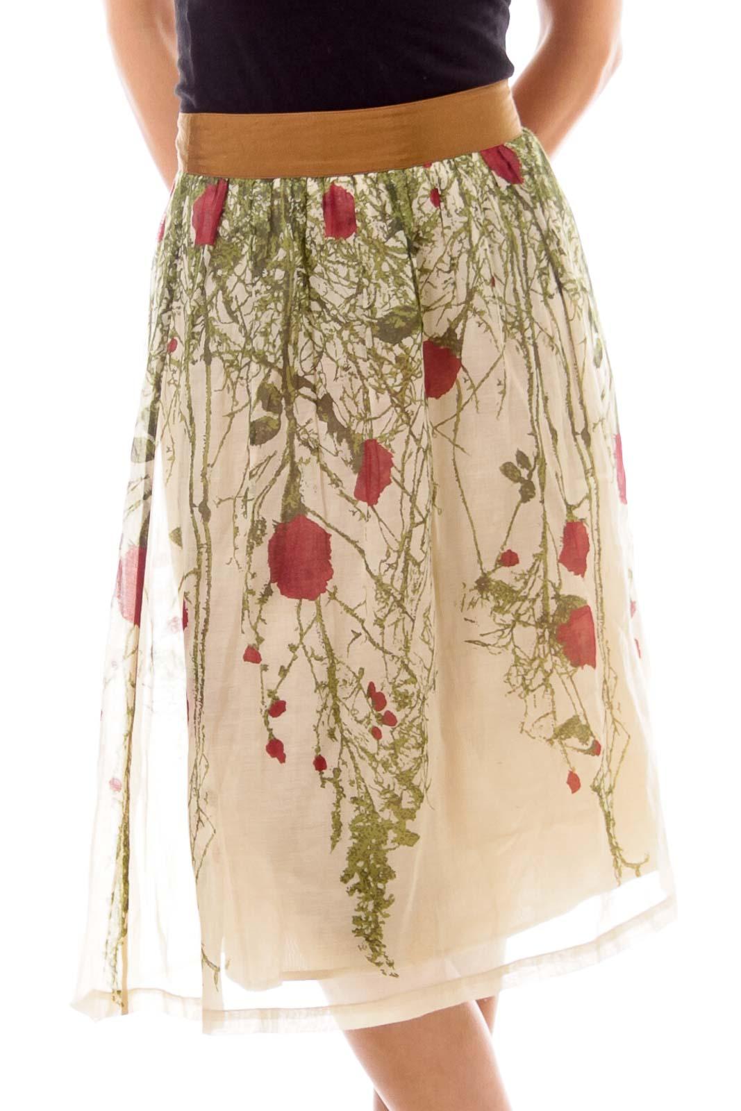 Beige Floral Print Flare Skirt Front