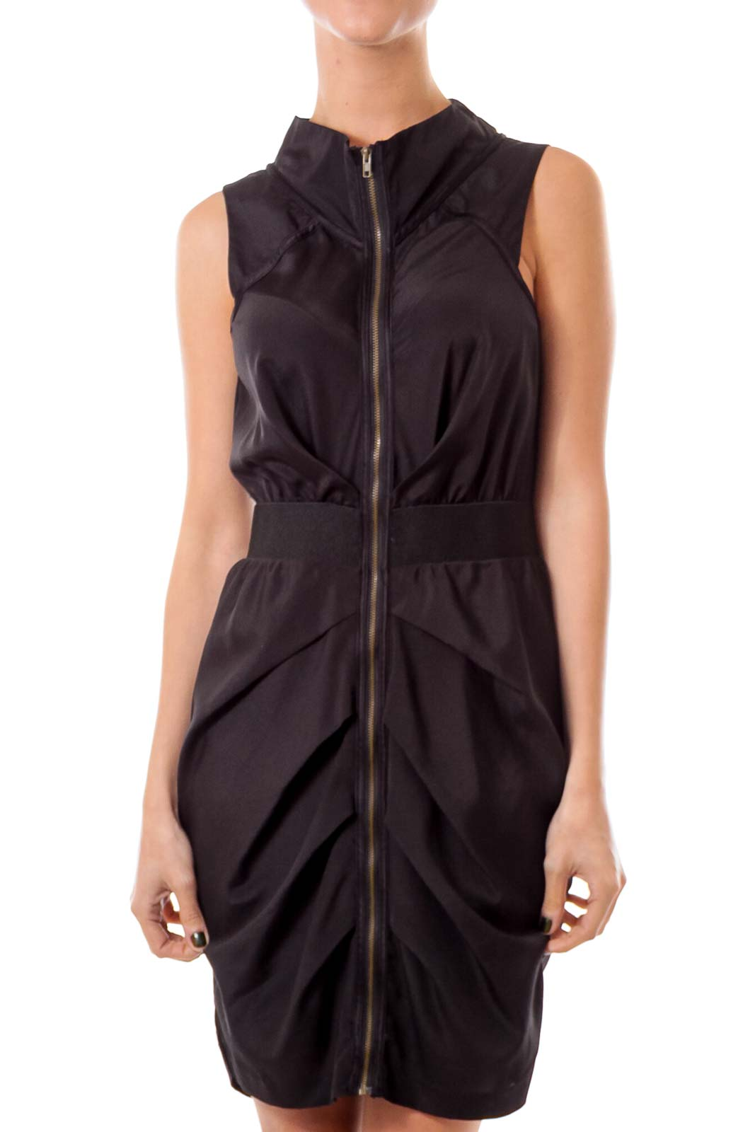 Black Zip Up Sheath Dress Front