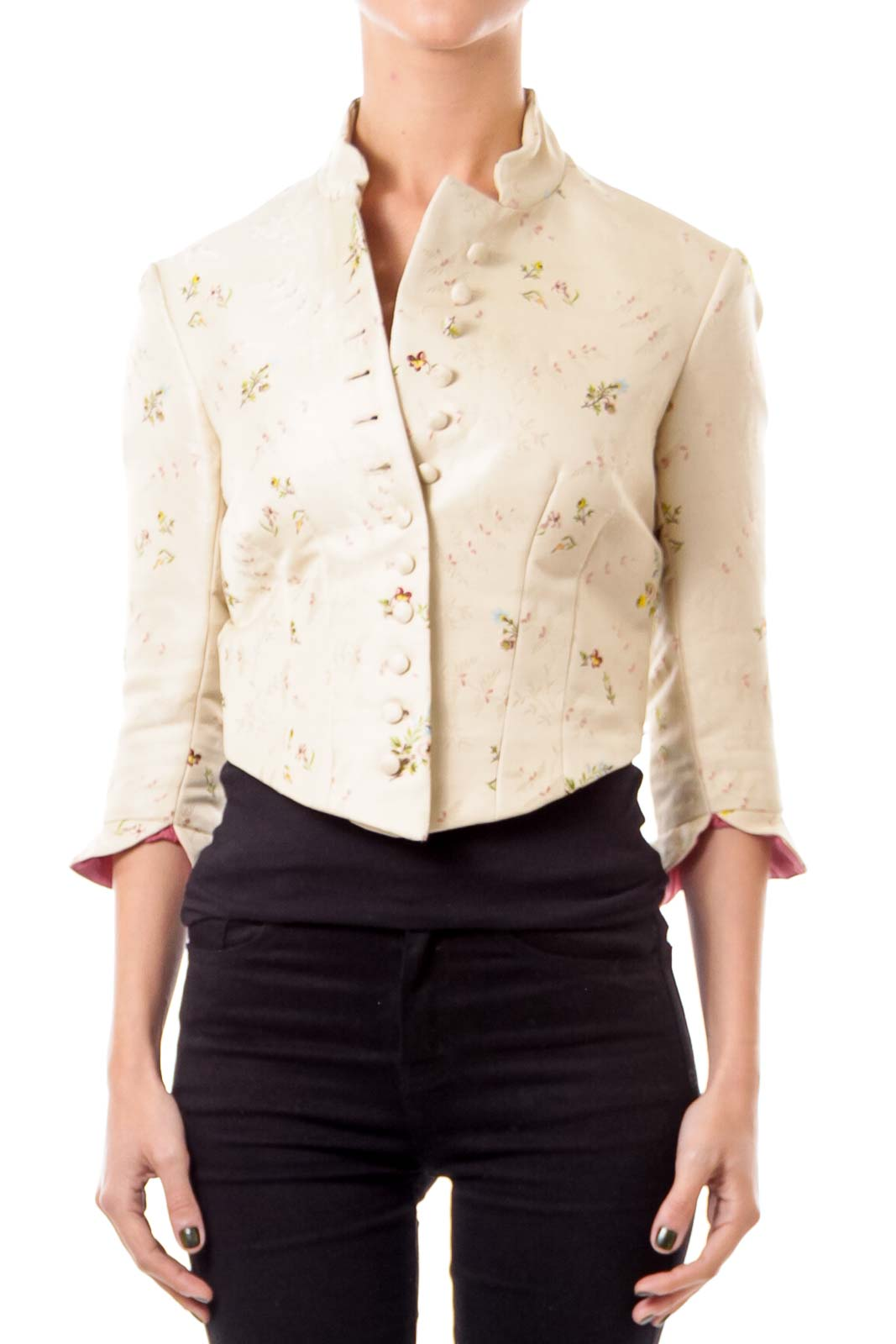 Beige Embroidered Cropped Jacket Front