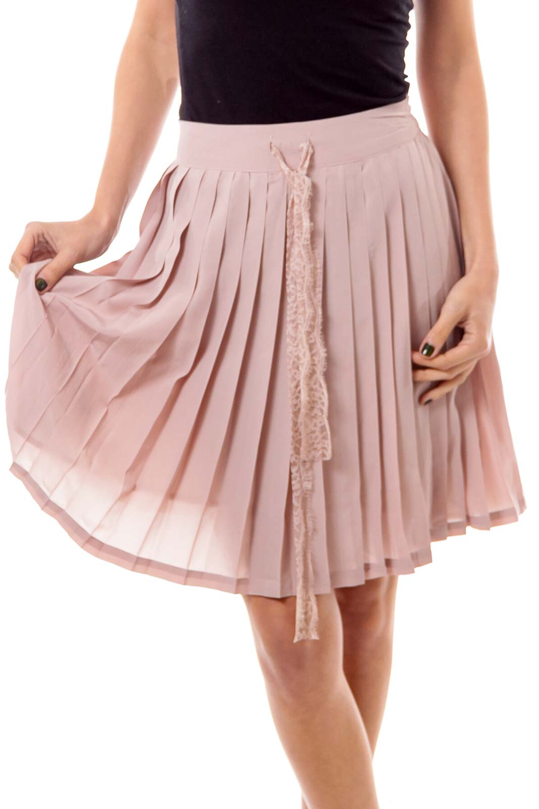 Dirty Beige Pleated Skirt Front