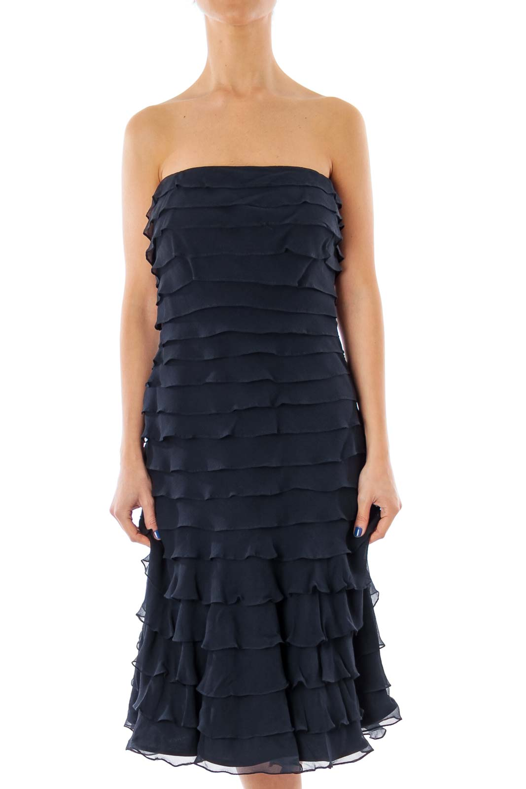 Navy Ruffle Strapless Dress Front