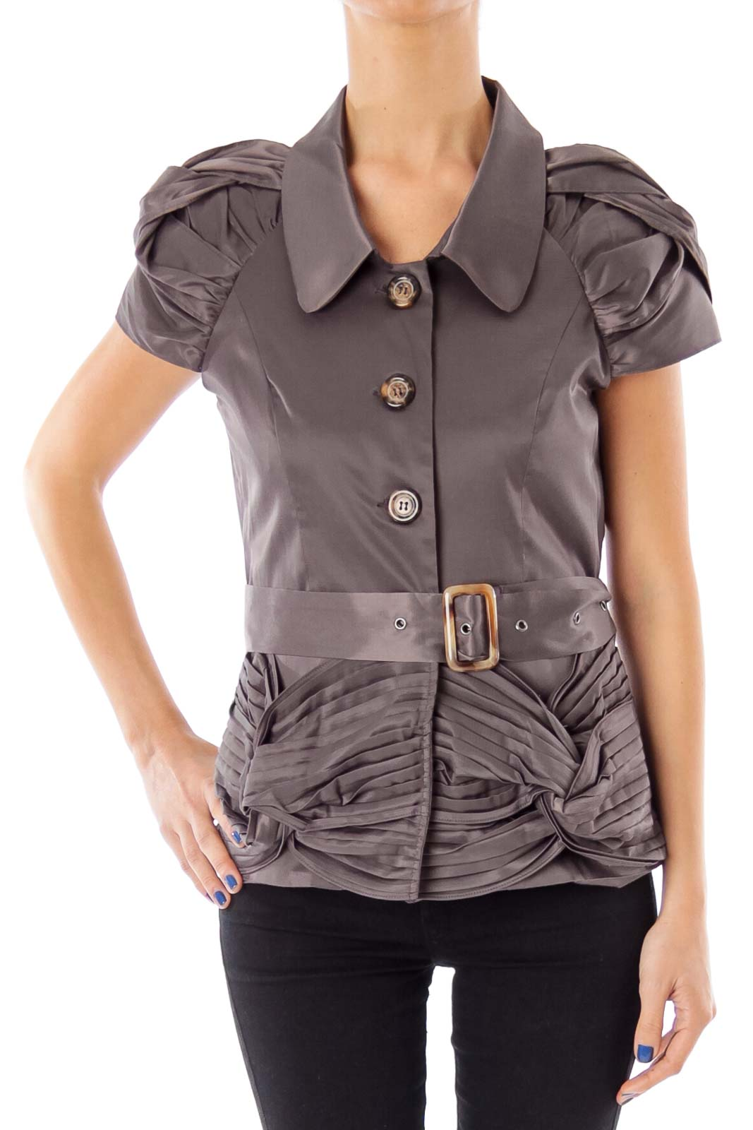 Taupe Belted Scrunch Detail Jacket Front