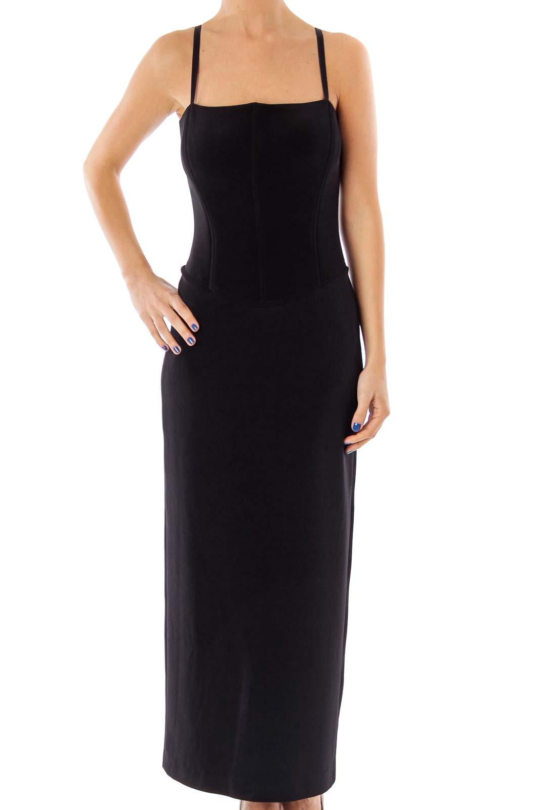 Black Open Back Evening Dress Front