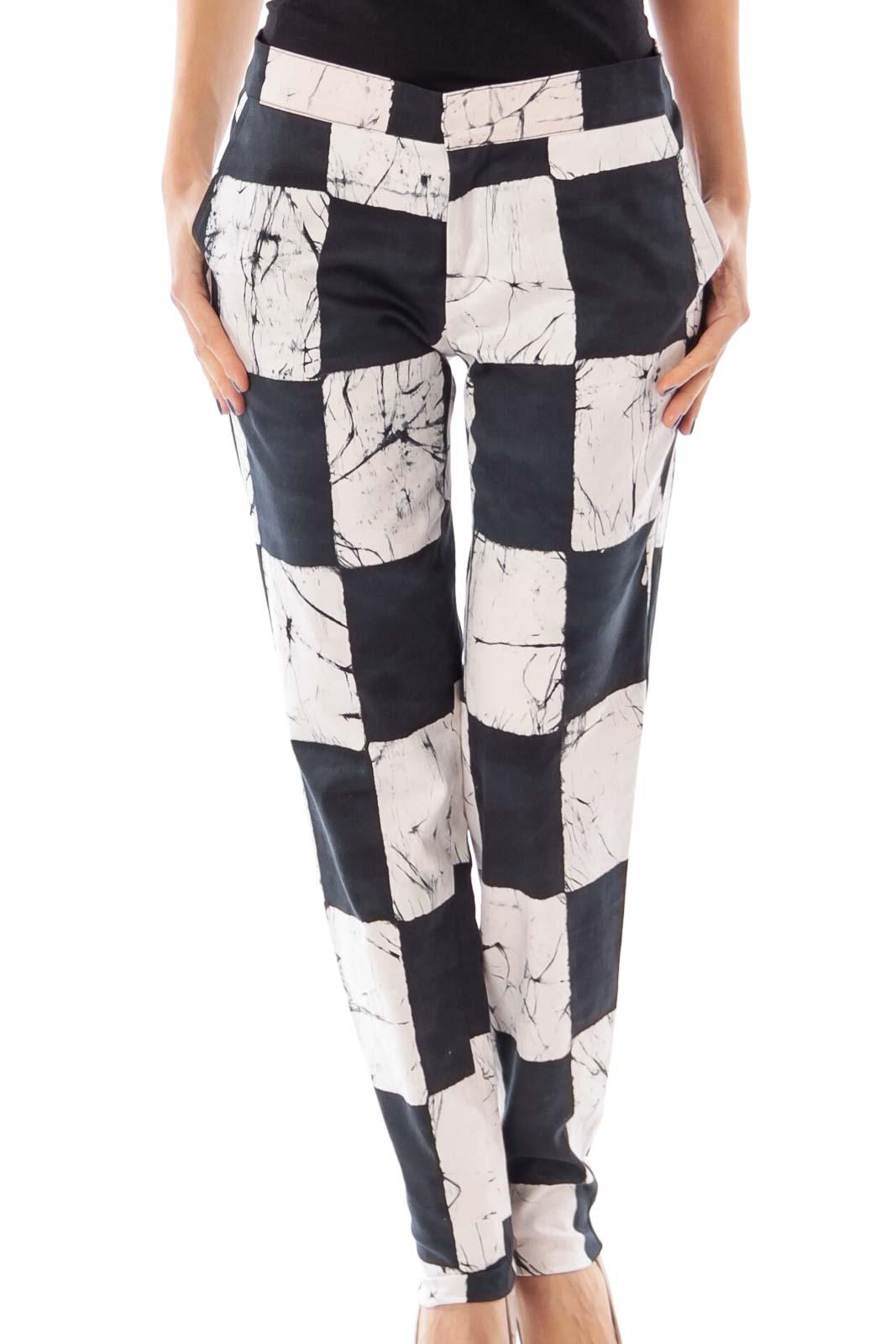 Black & White Block Skinny Pants Front
