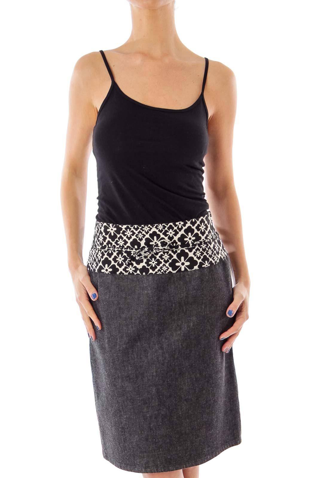 Gray Denim Flower Printed Pencil Skirt Front