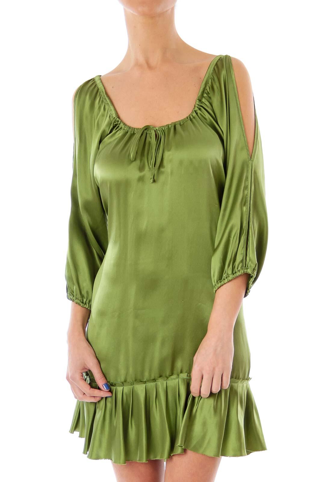 Green Silk Cold Shoulder Dress Front