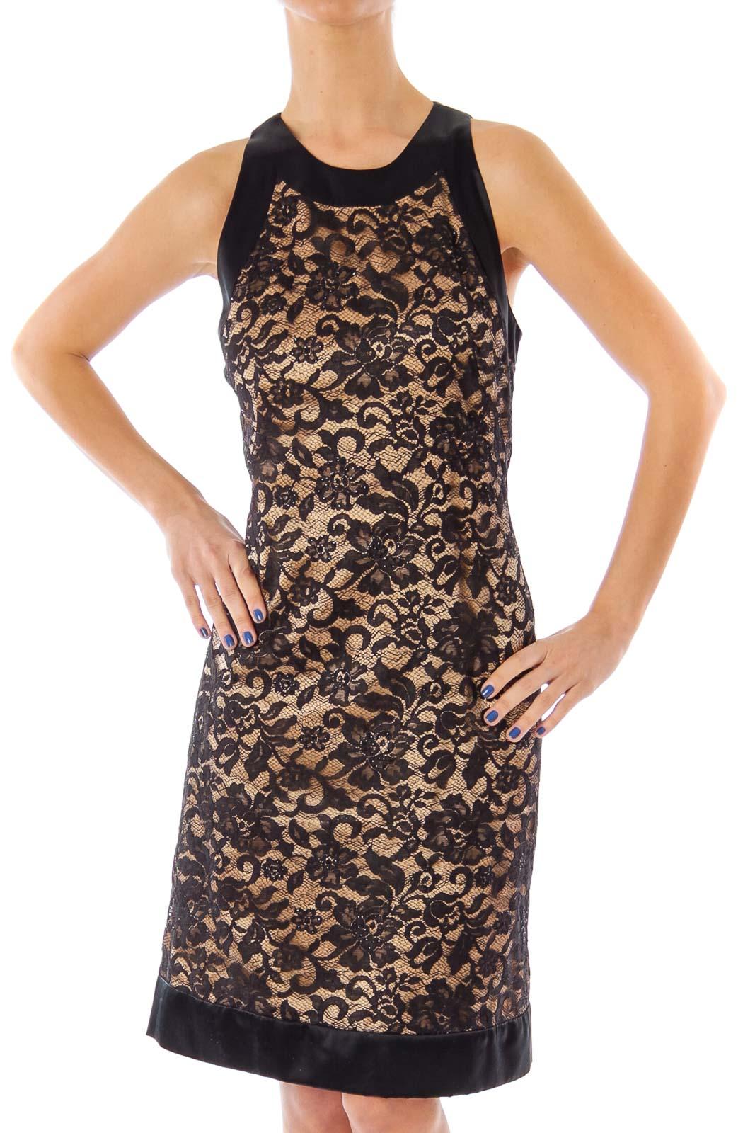 Black & Beige Lace Cocktail Dress Front