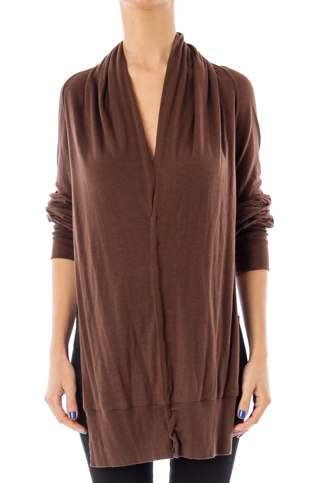 Brown Cropped Knit Sweater Front