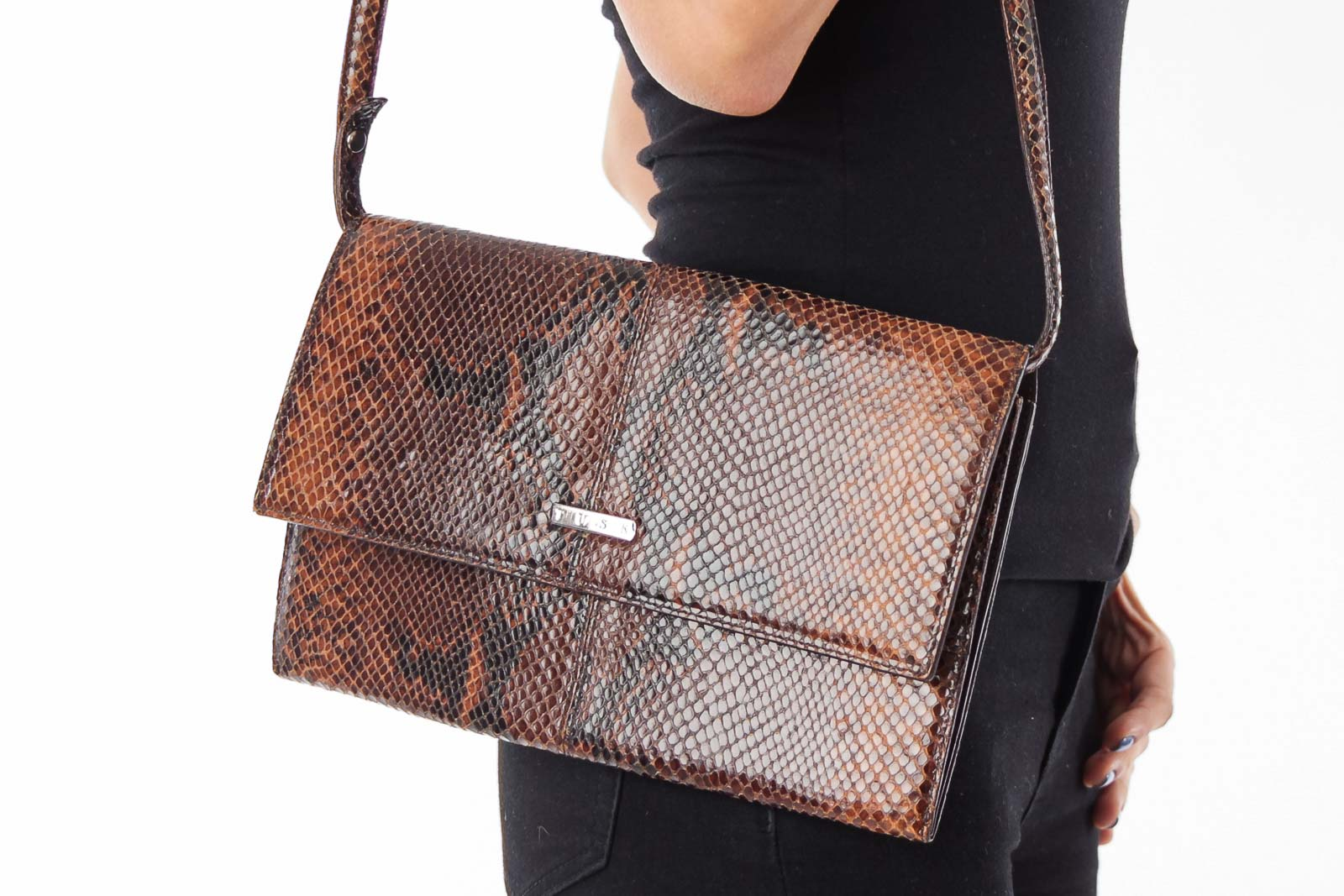 Brown Snake Leather Clutch Front
