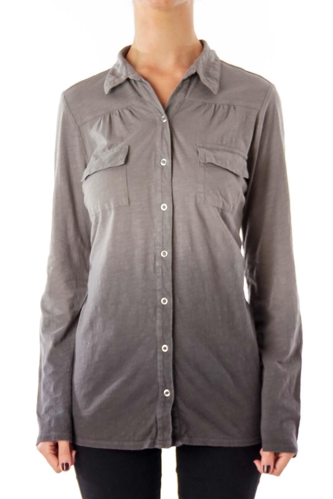 Gray Gradation Button Down Shirt Front