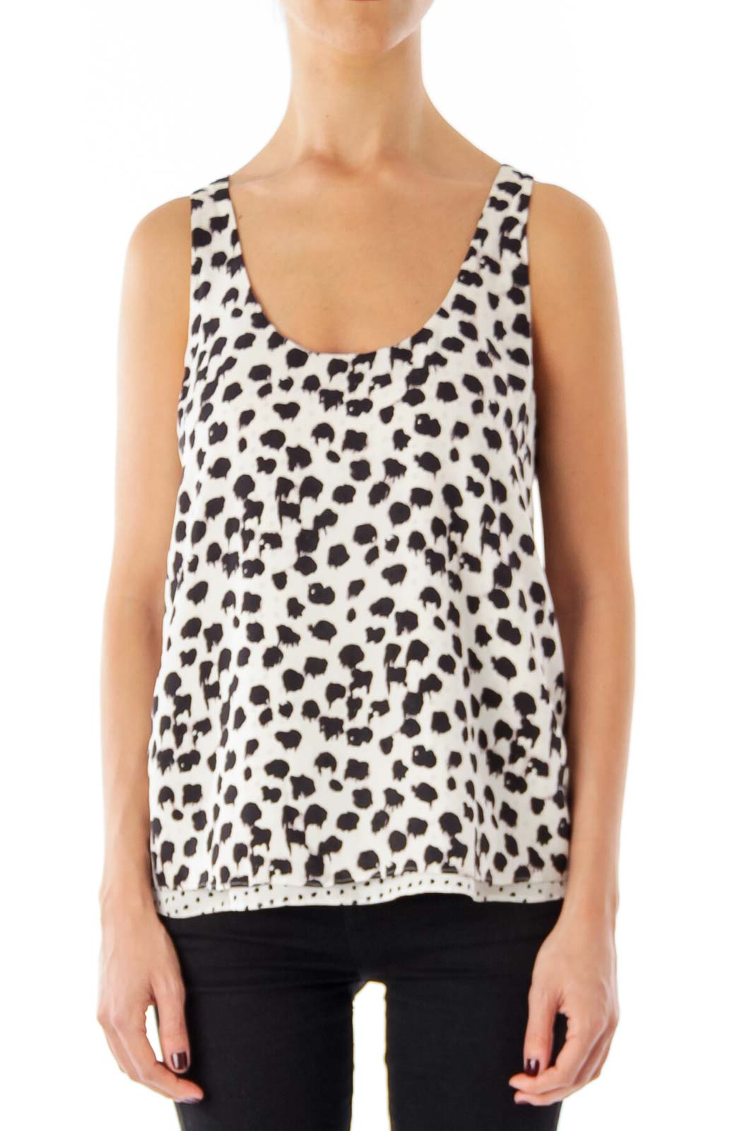 White & Black animal Print Sleeveless top Front