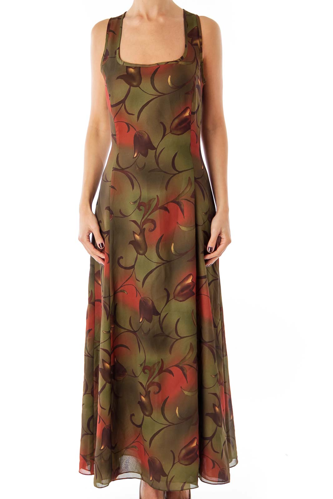 Army Green Tulip Print Maxi Dress Front