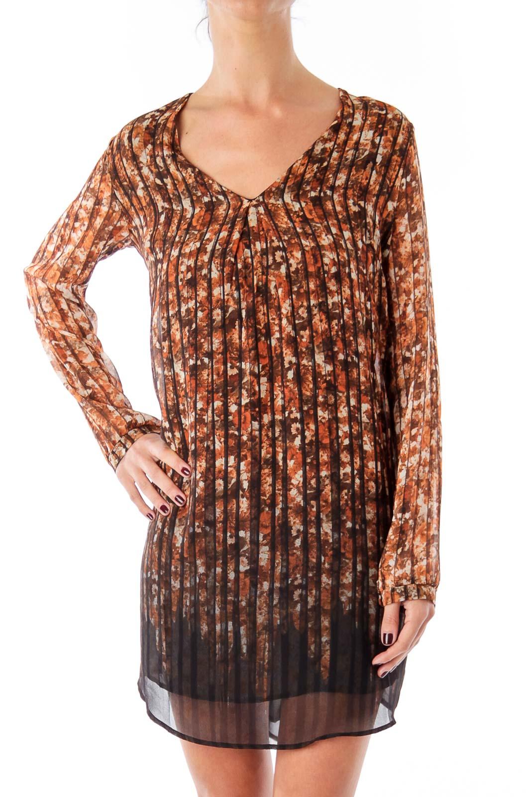 Brown Flower & Stripe V-neck Shift Dress Front