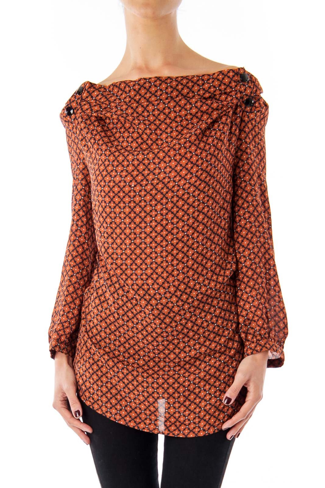 Brown Diamond Patter Blouse Front