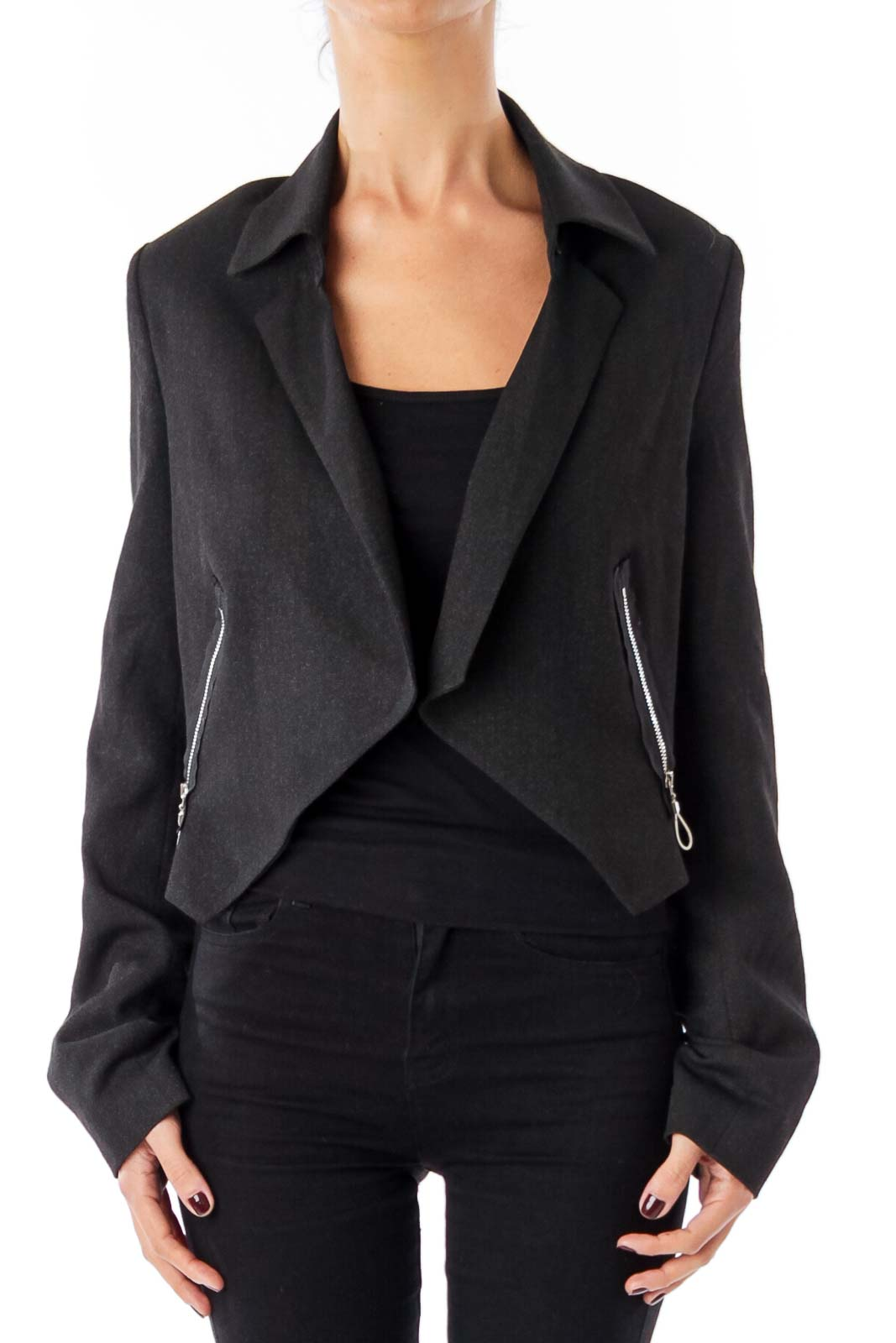 Gray Cropped Blazer Front