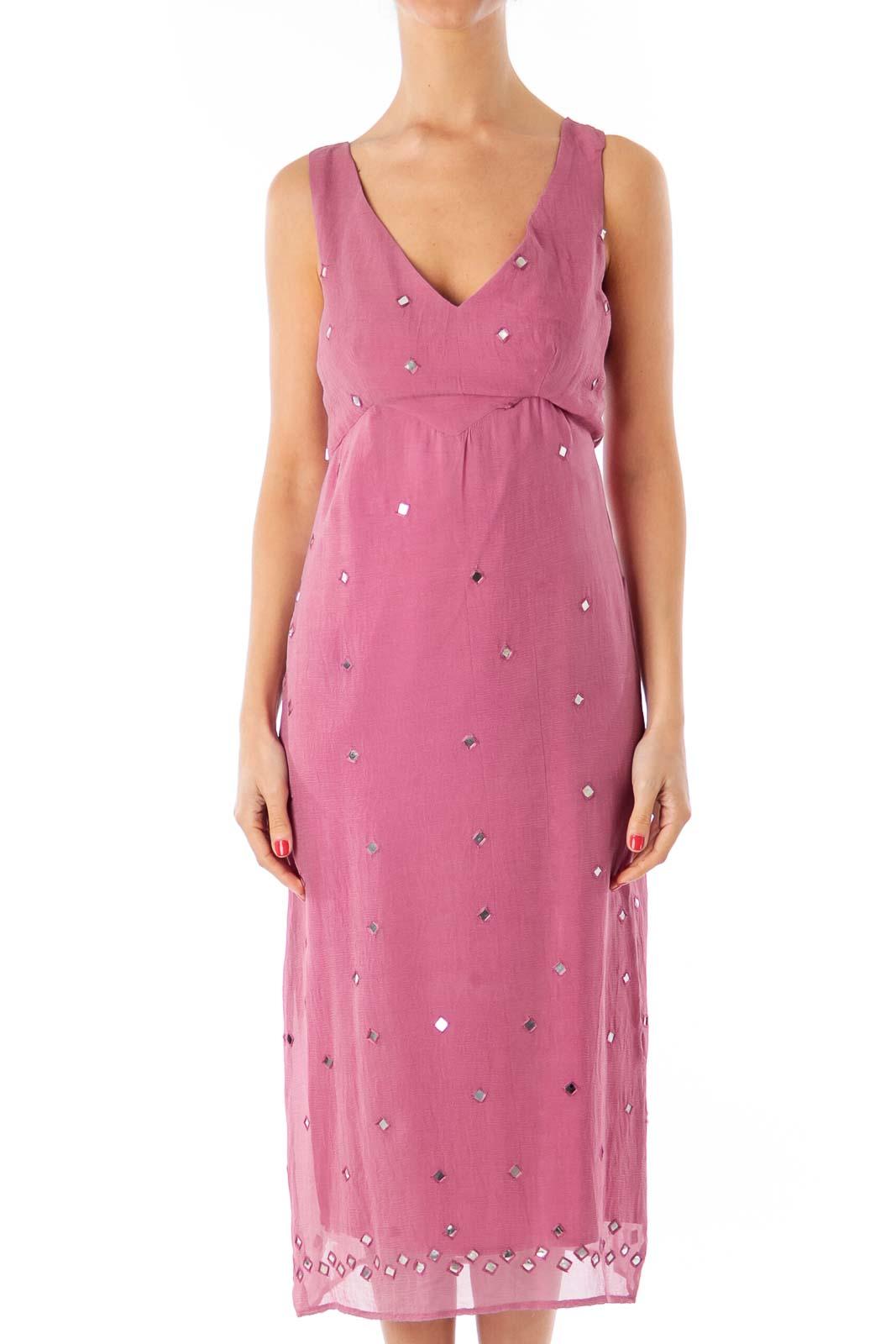 Pink Chiffon Mirror Detail Dress Front