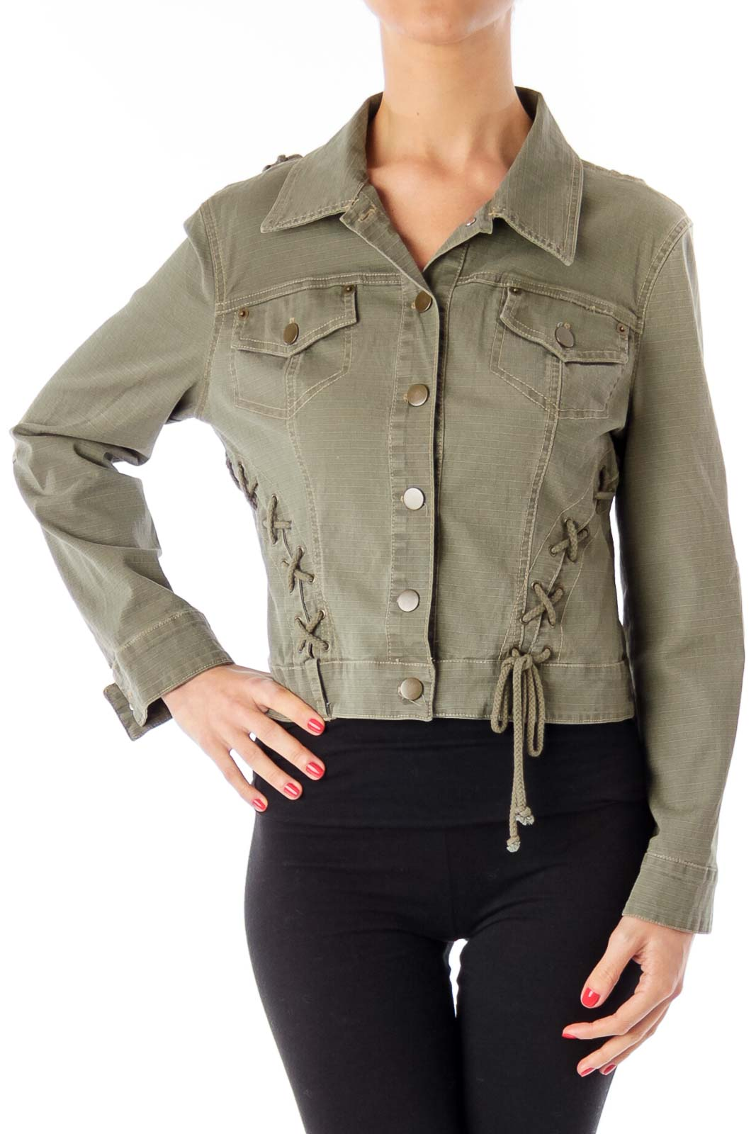 Army Green String Detail Jacket Front