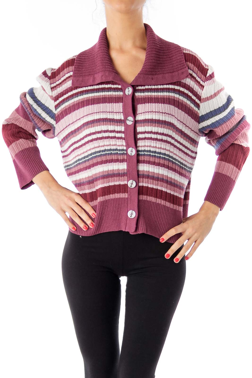 Purple & Pink Stripe Jersey Cardigan Front
