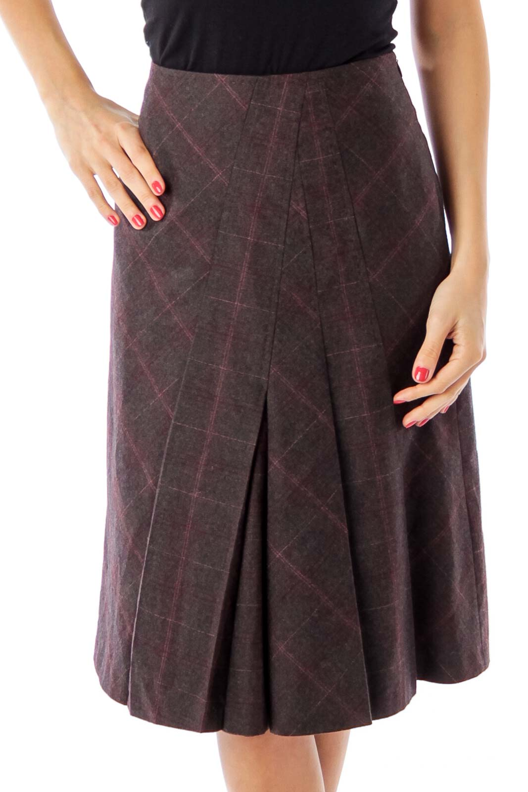 Burgundy Check A-Line Skirt Front