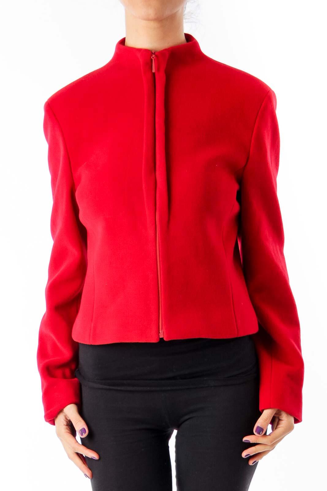 Red Wool Vintage Zip Down Jacket Front