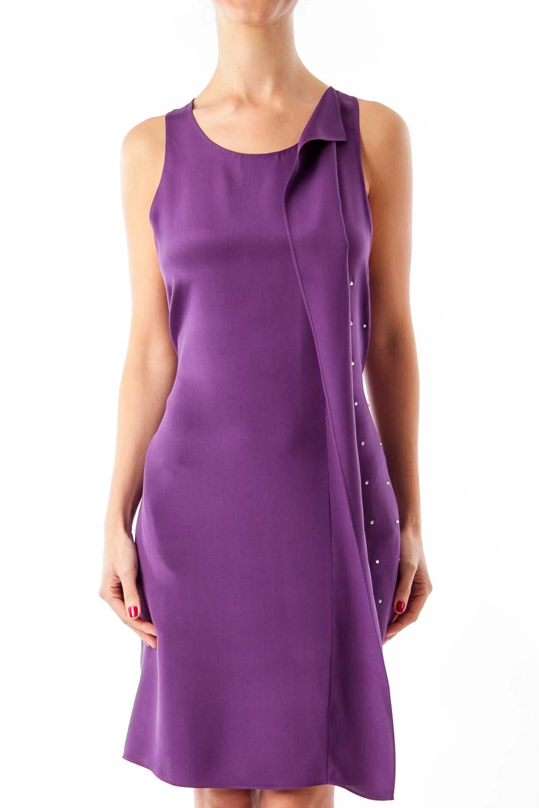Purple Sequin Sleeveless Dress Front