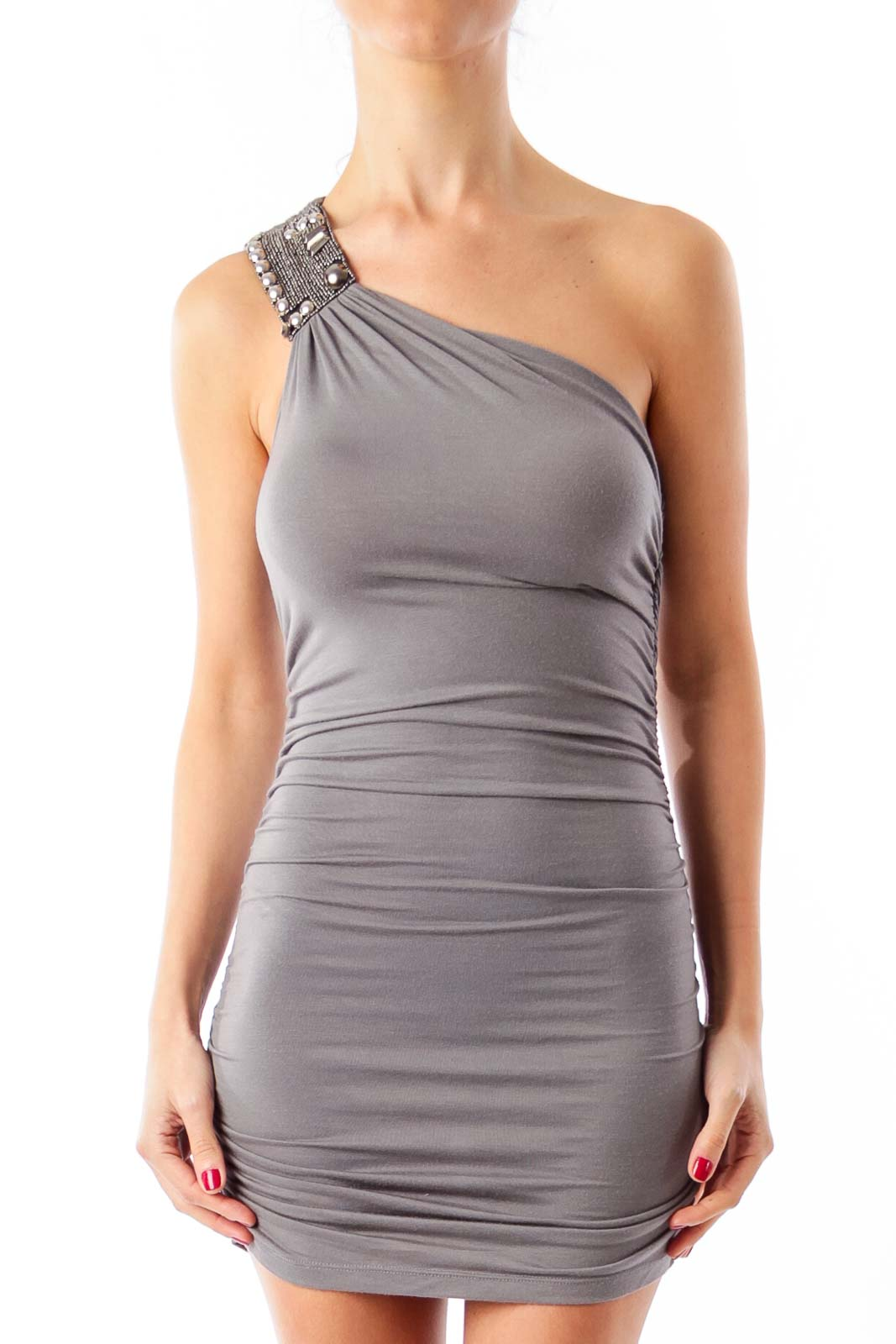 Gray Sleeveless Top Front