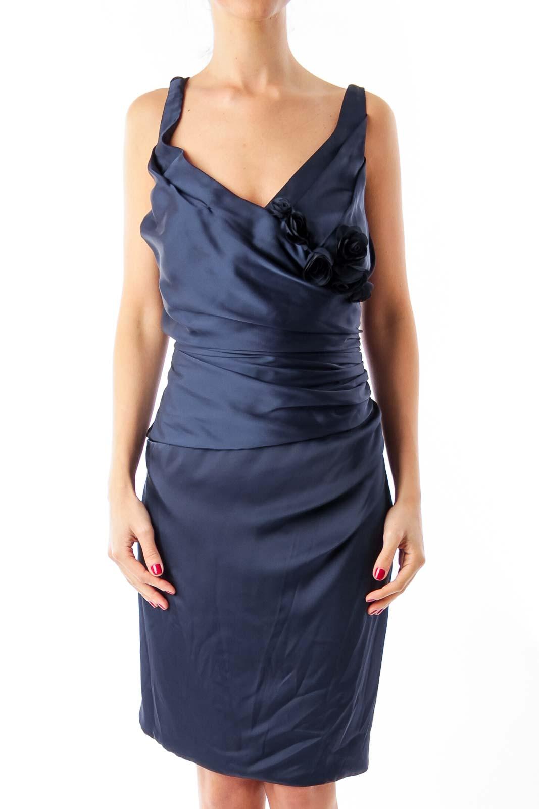 Navy Blue Satin Evening Dress Front