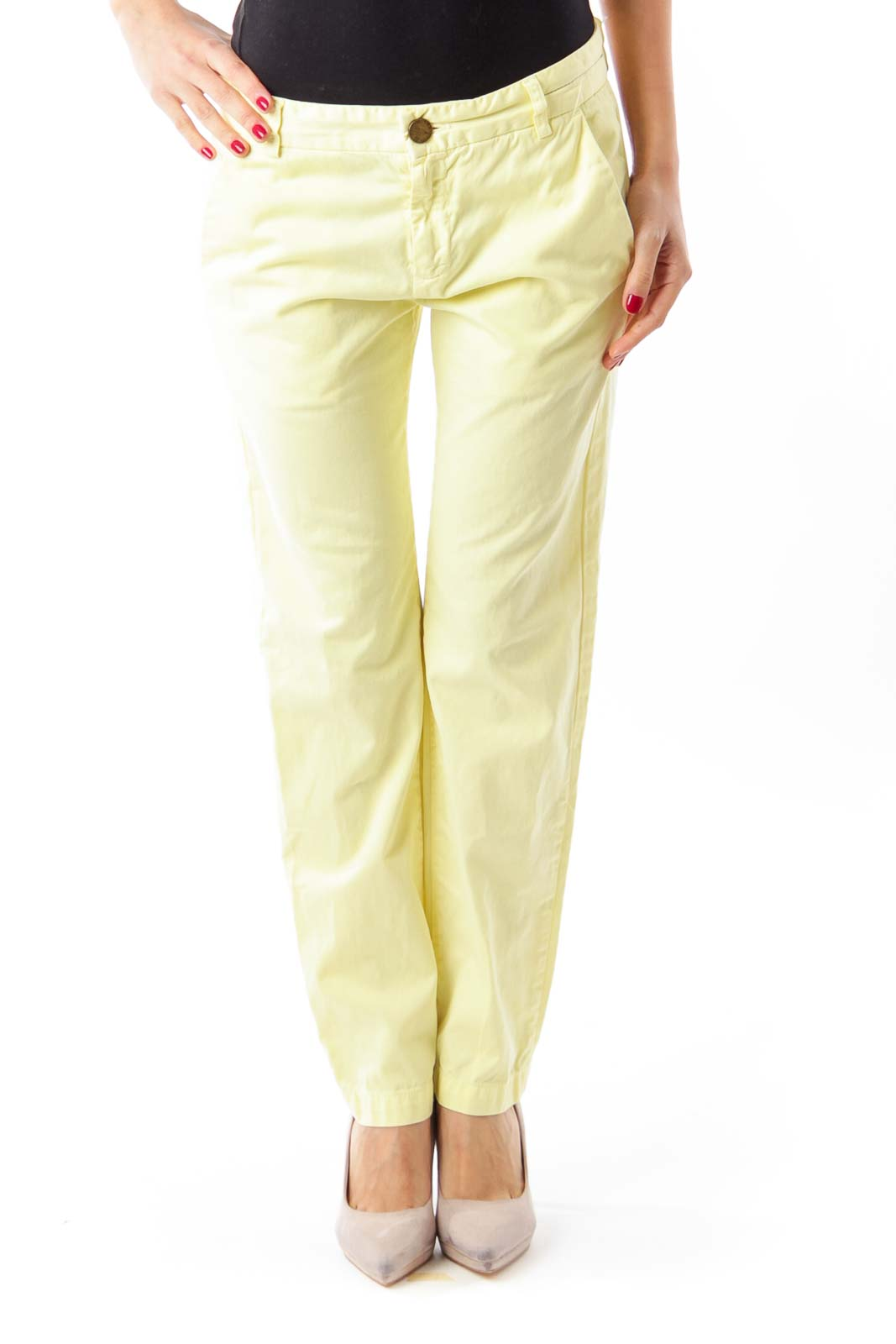 Yellow Cropped Jeans Front