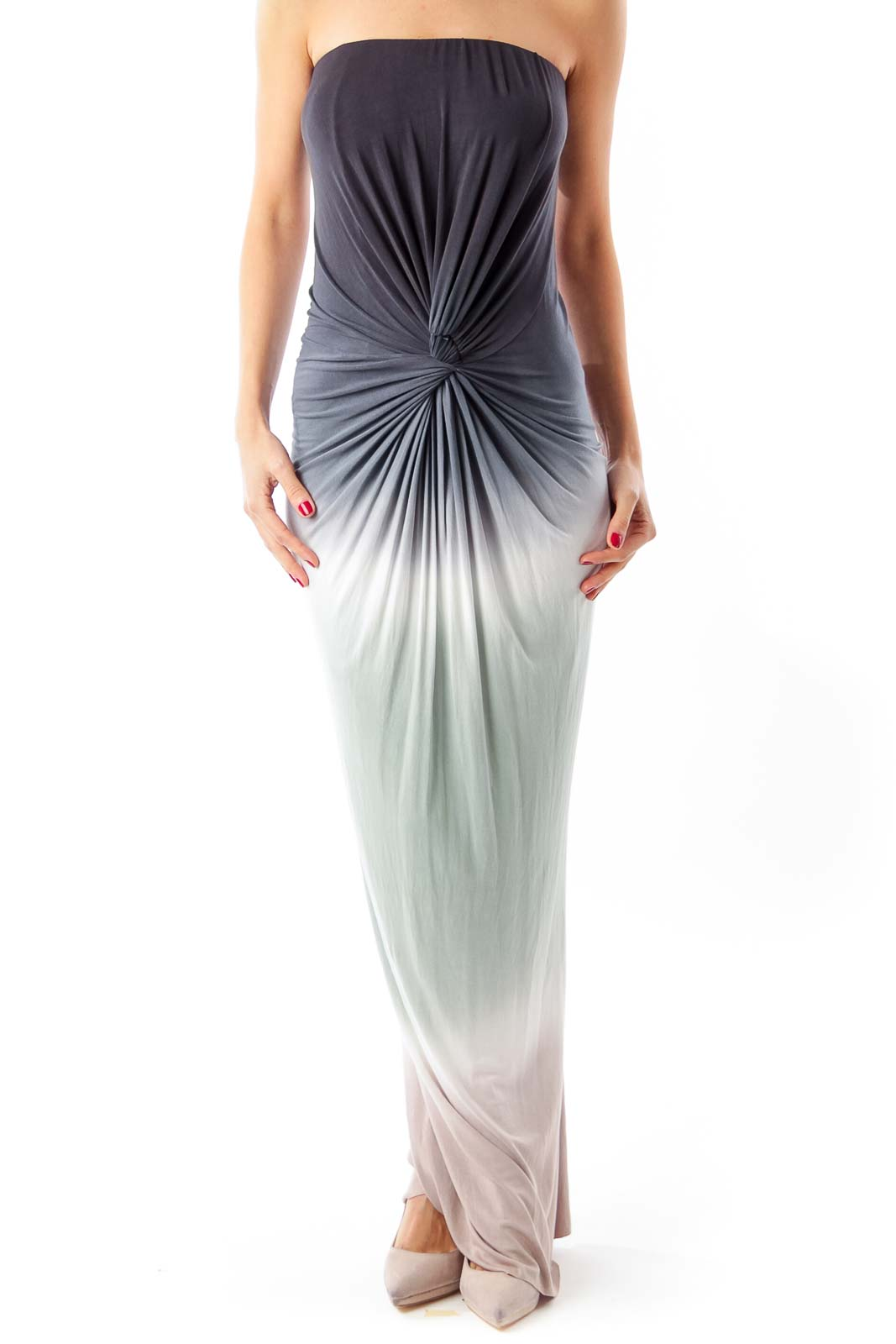 Multi-color Strapless Maxi Dress Front