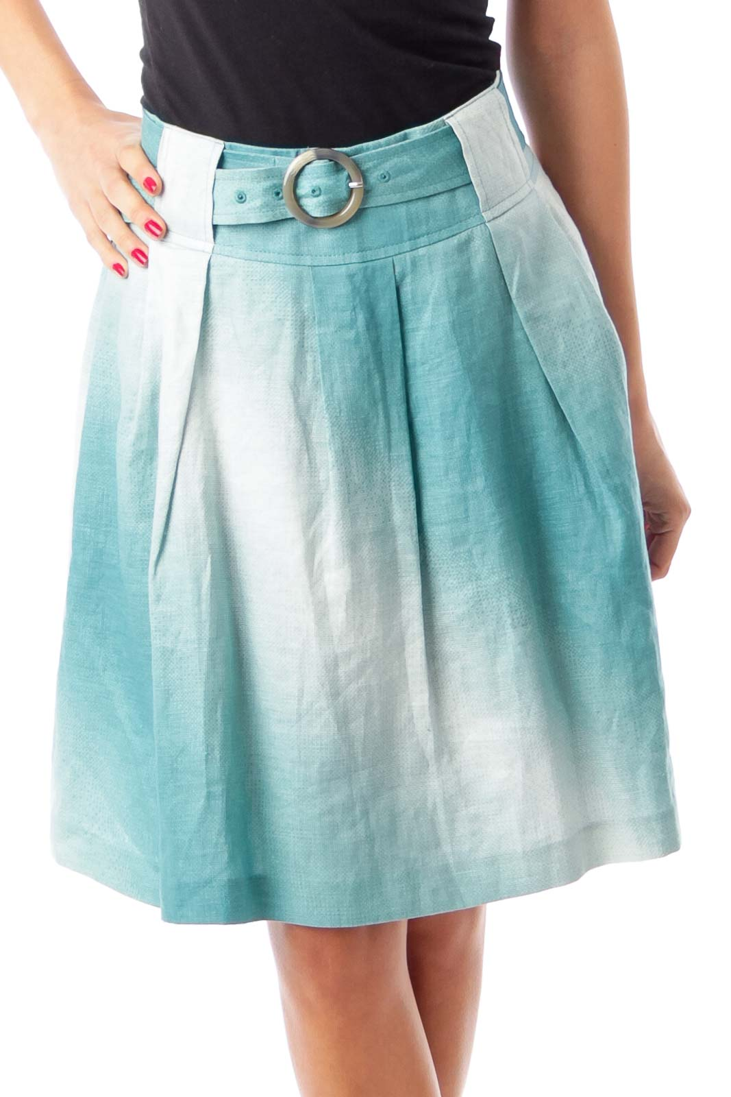 Turquoise & White Belted A-Line Skirt Front