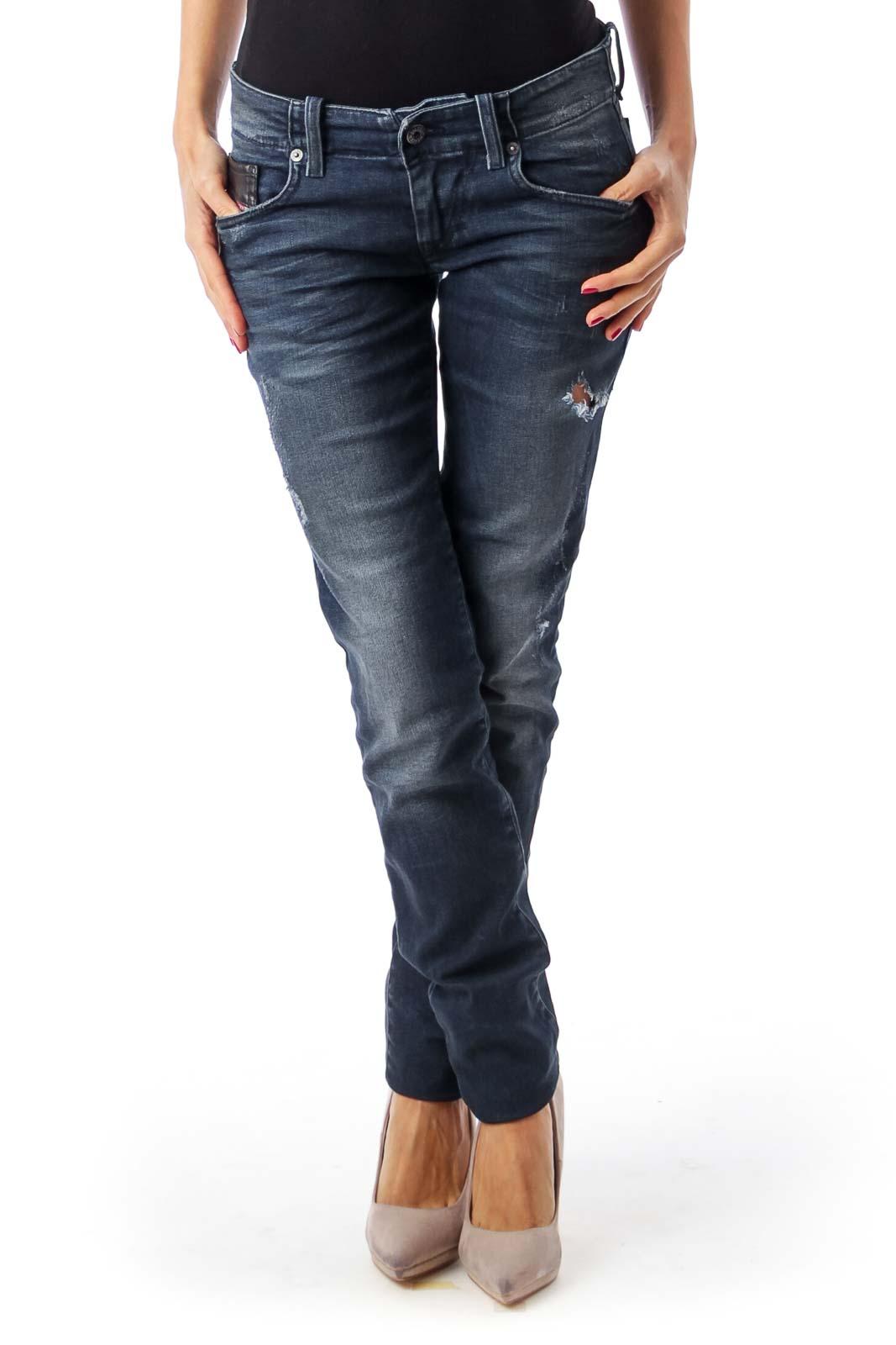Deep Blue Slim Skinny Jeans Front