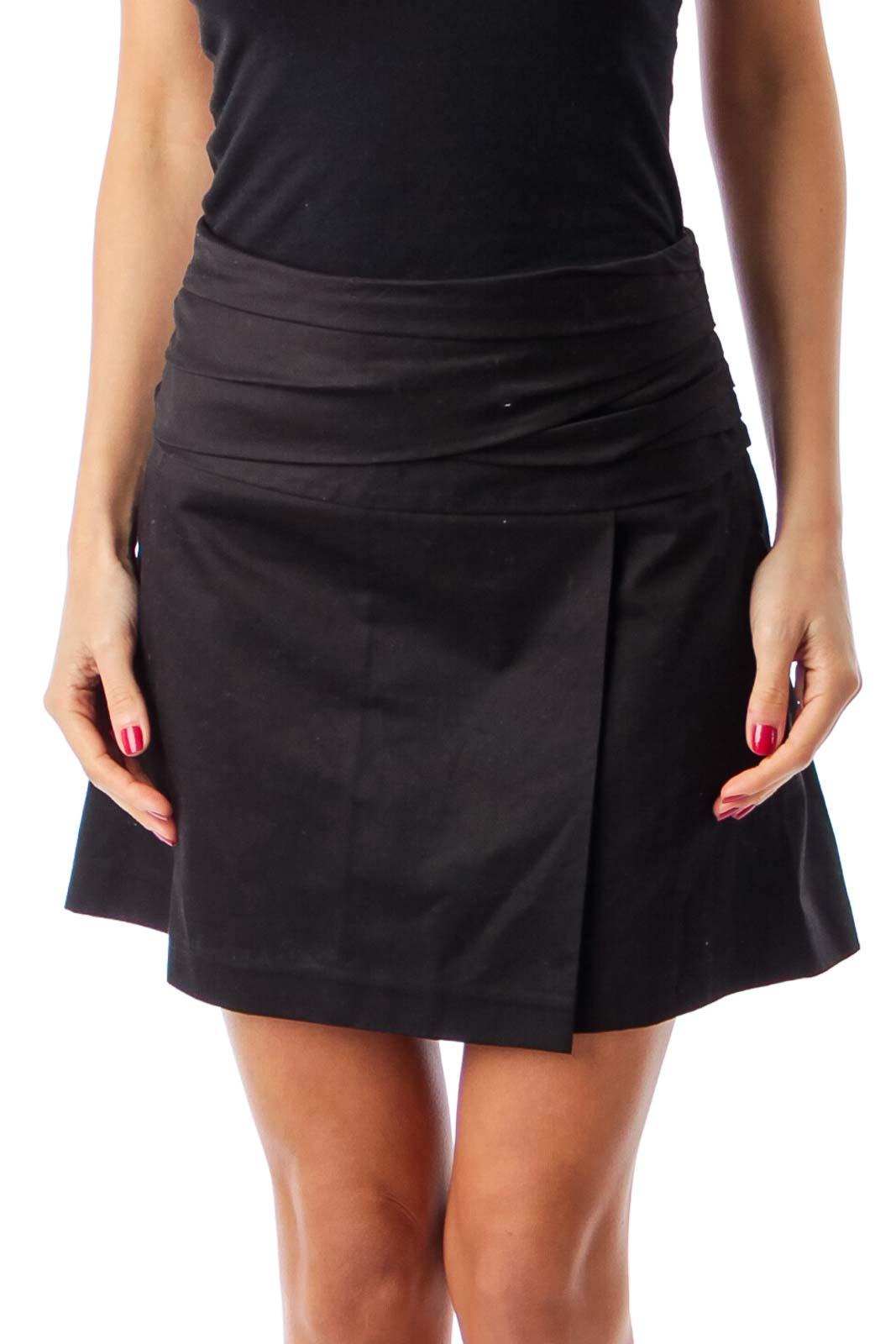 Black Waist Detail Mini Skirt Front