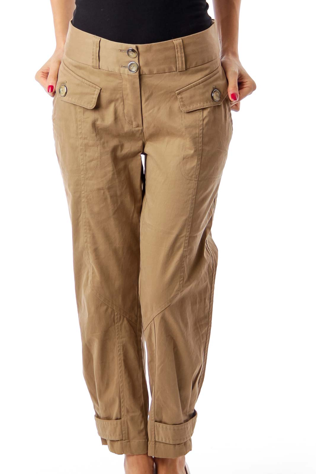 Brown Pocket Detail Cropped Pants Front