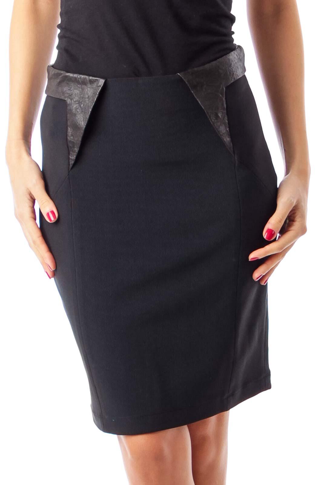 Black Leather Trim Pencil Skirt Front