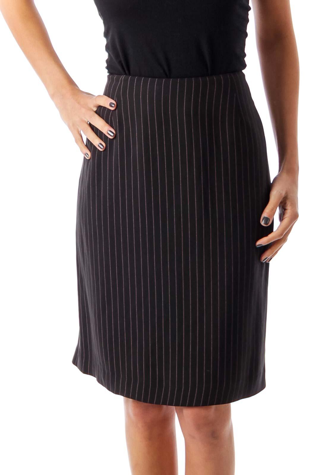 Black Stripe Pencil Skirt Front