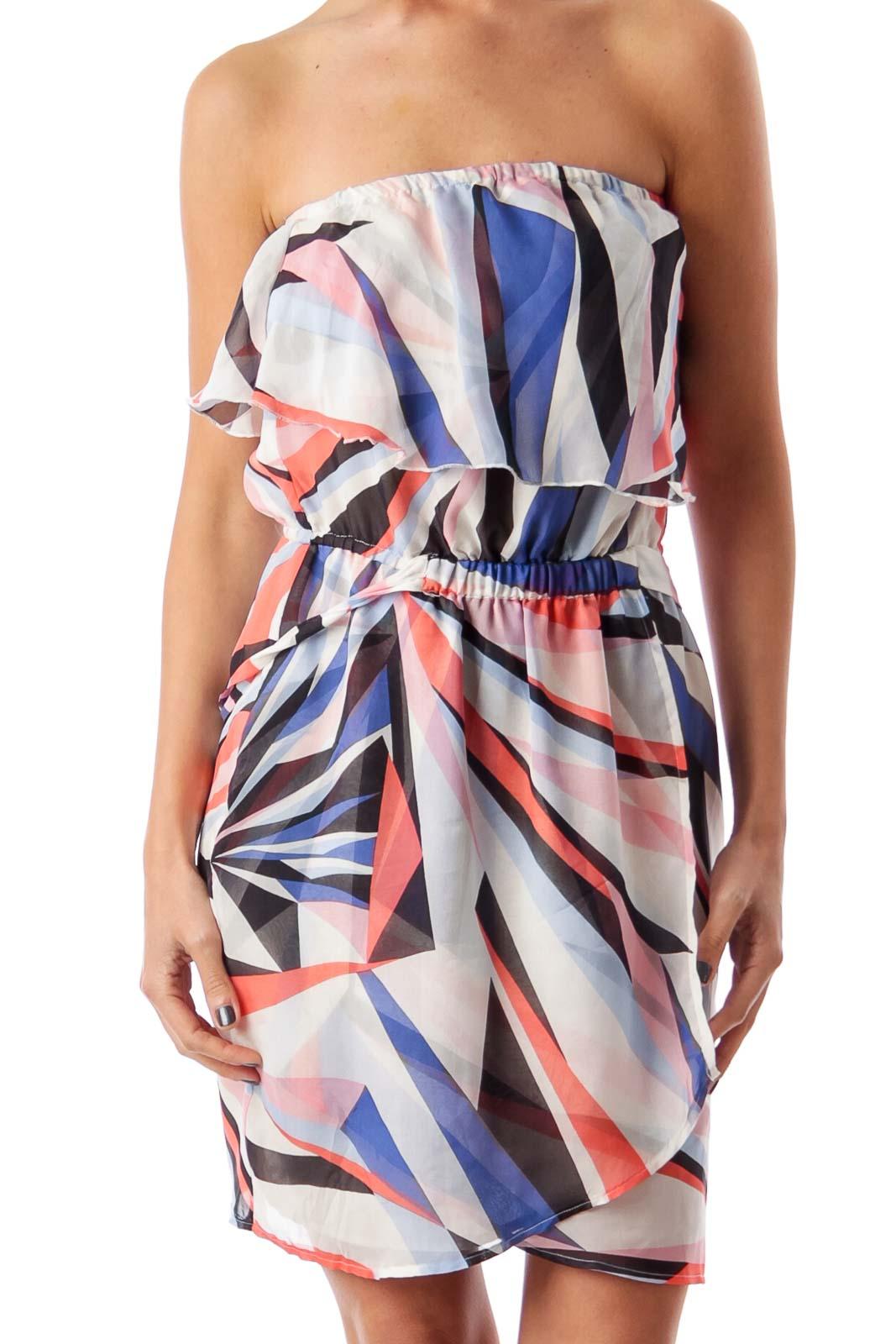 Multi Color Stripe Strapless Dress Front