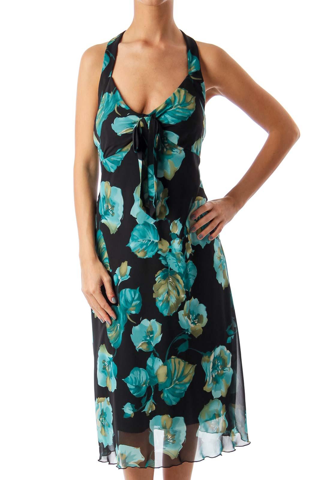 Black & Turquoise Floral Halter Dress Front