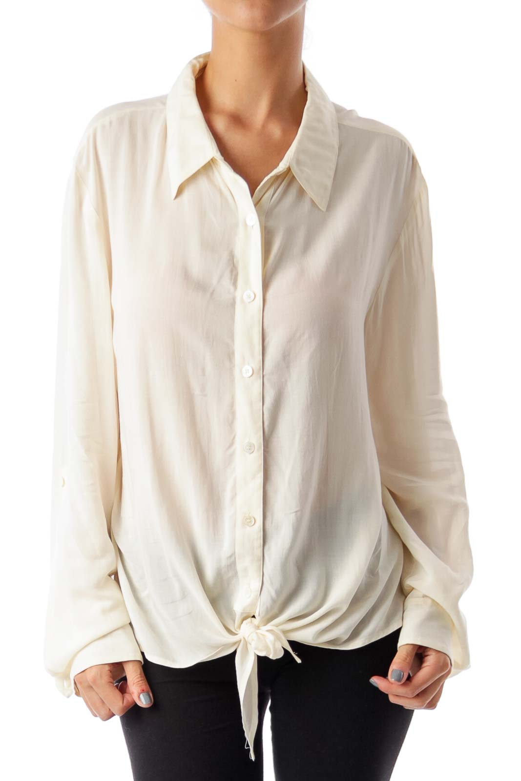 Ivory Lace Back Button Down Shirt Front