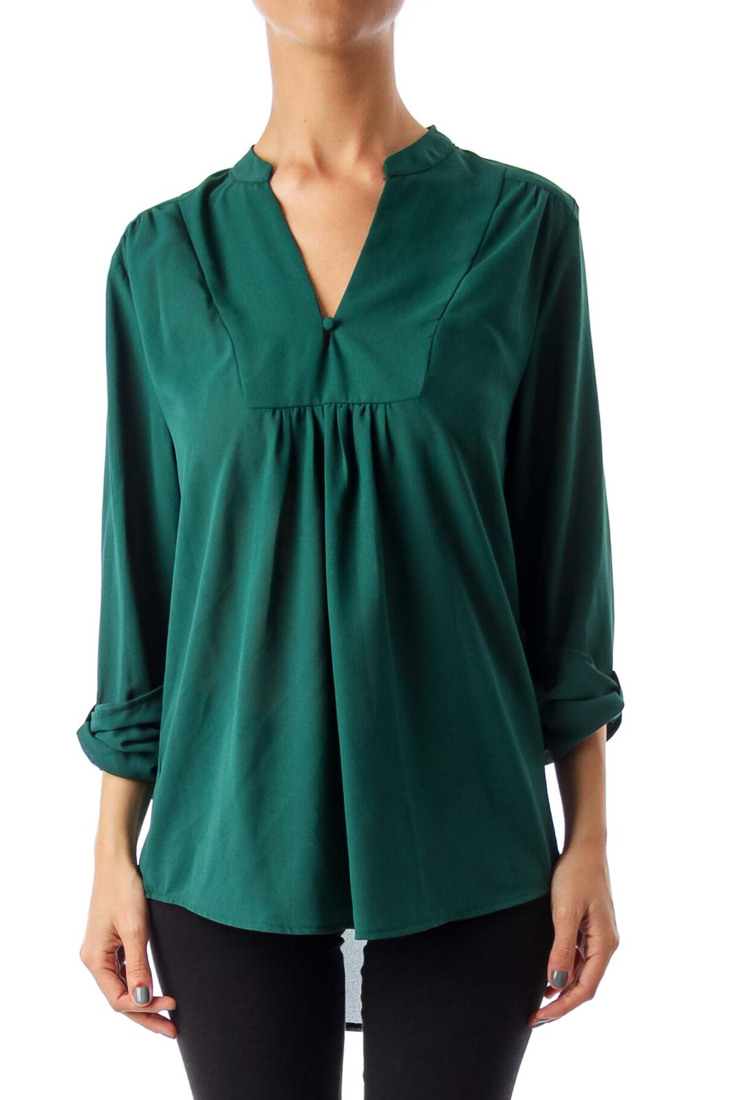 Green V-Neck Jersey Top Front